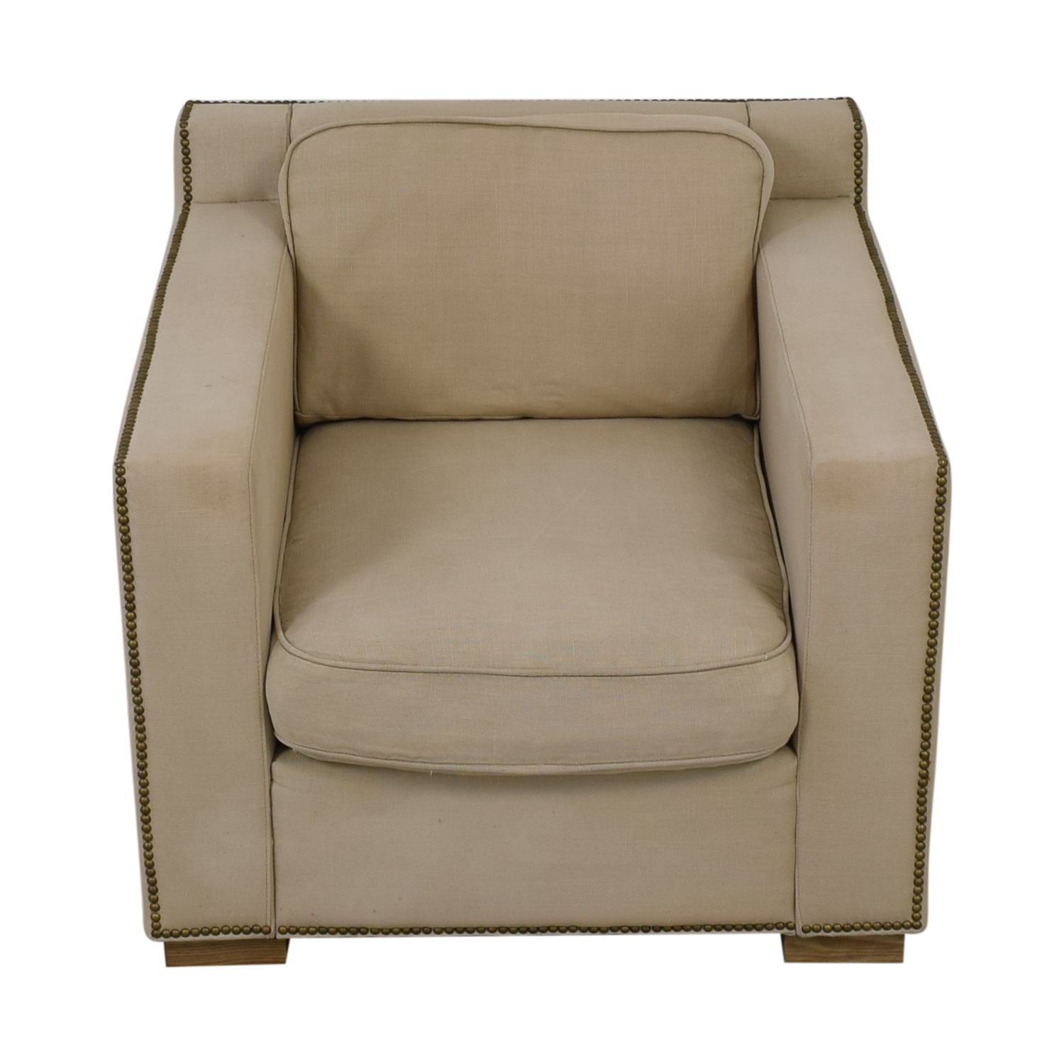 Restoration Hardware Restoration Hardware Collins Beige Nailhead Accent Chair second hand