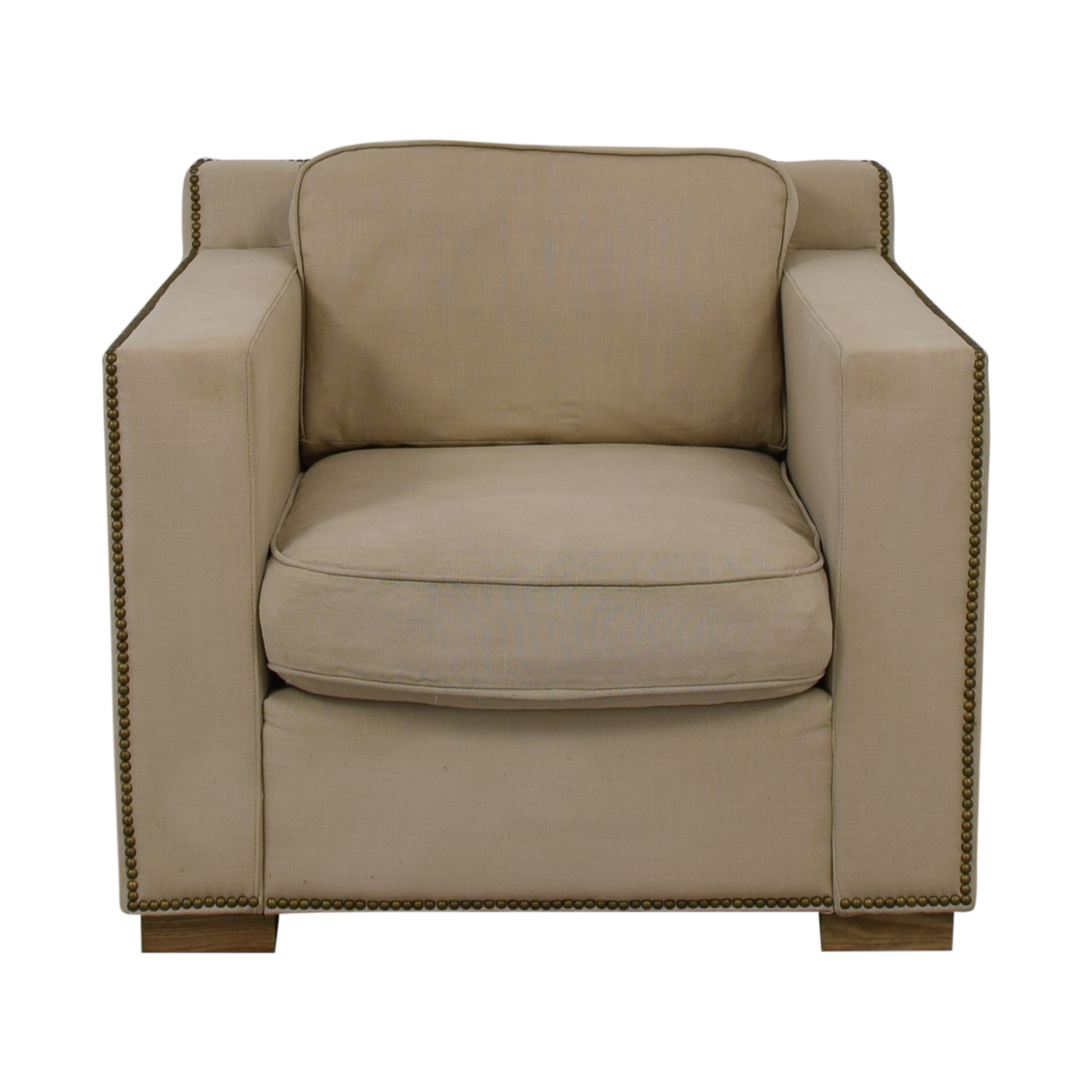 Restoration Hardware Restoration Hardware Collins Beige Nailhead Accent Chair discount