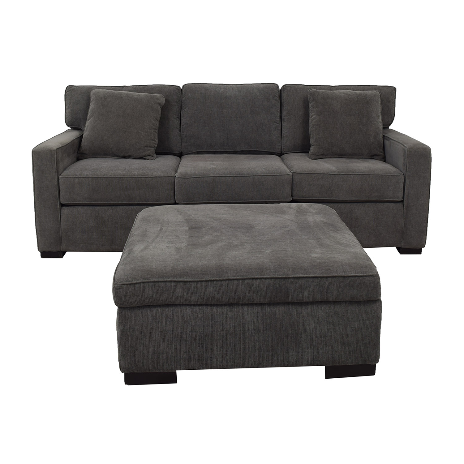 Macy's Macy's Radley Charcoal Grey Three-Cushion Sofa with Ottoman for sale