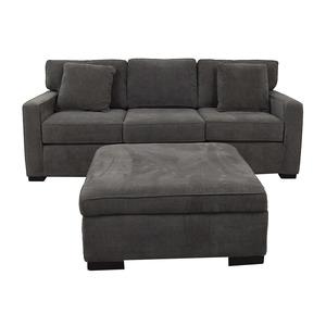 Macy's Macy's Radley Charcoal Grey Three-Cushion Sofa with Ottoman discount