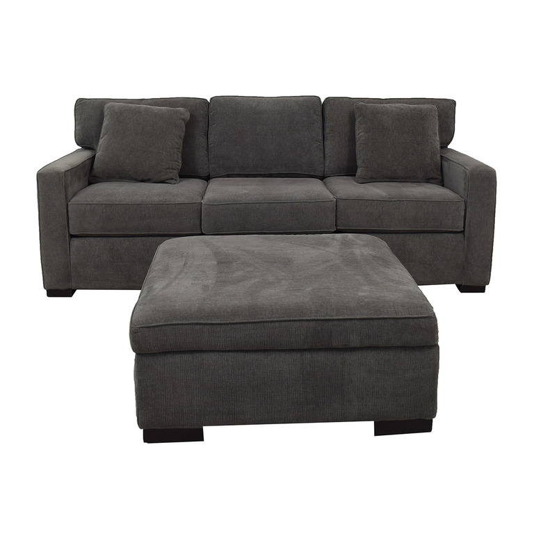 buy Macy's Radley Charcoal Grey Three-Cushion Sofa with Ottoman Macy's