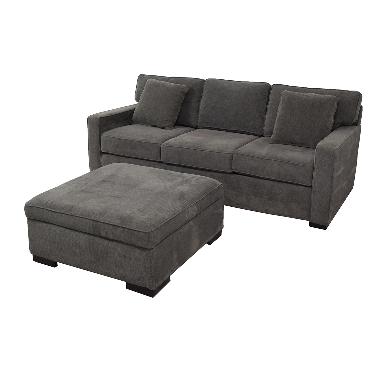 Macy's Macy's Radley Charcoal Grey Three-Cushion Sofa with Ottoman nyc