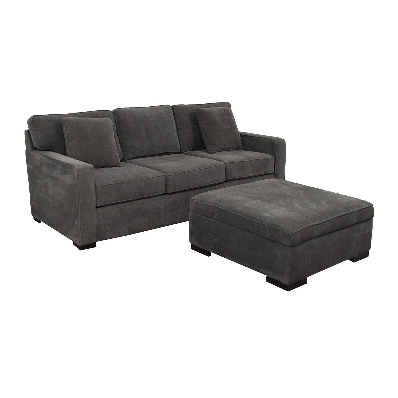 Macy's Macy's Radley Charcoal Grey Three-Cushion Sofa with Ottoman Dark Gray