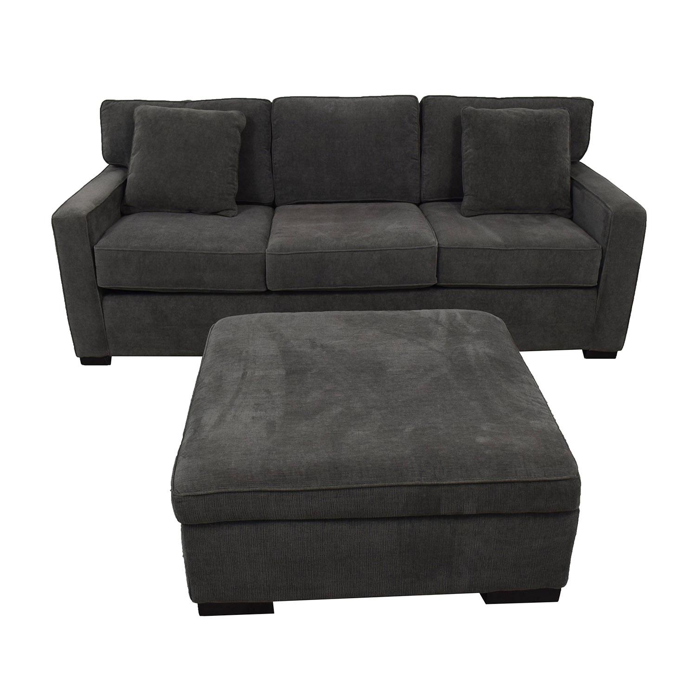 Macy's Macy's Radley Charcoal Grey Three-Cushion Sofa with Ottoman Sofas