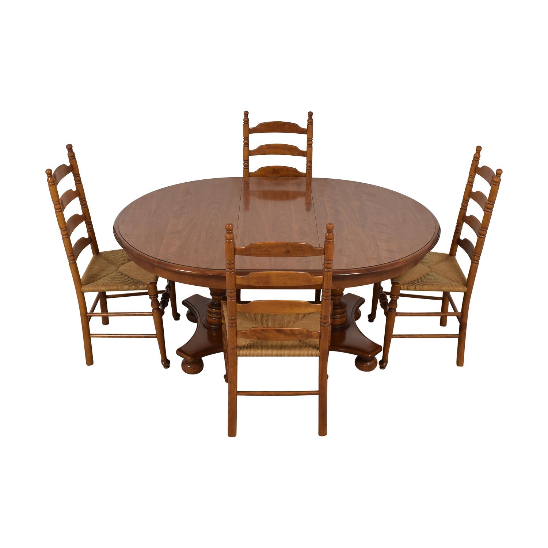 shop Ethan Allen Extendable Wood Pedestal Dining Set Ethan Allen Tables