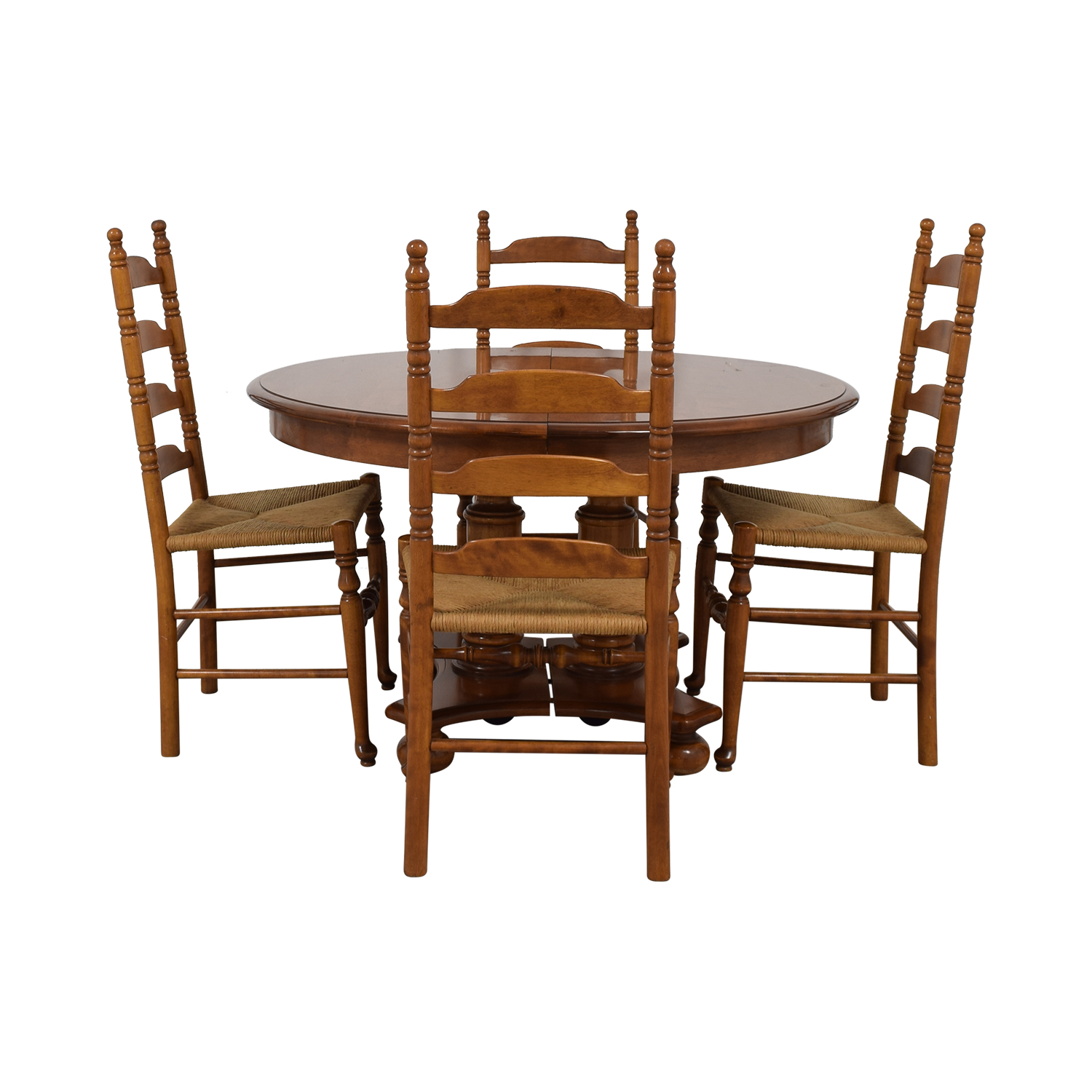 Ethan Allen Ethan Allen Extendable Wood Pedestal Dining Set BROWN