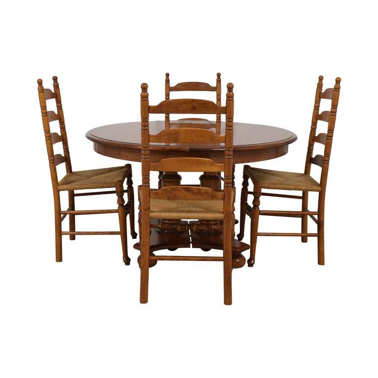 shop Ethan Allen Extendable Wood Pedestal Dining Set Ethan Allen