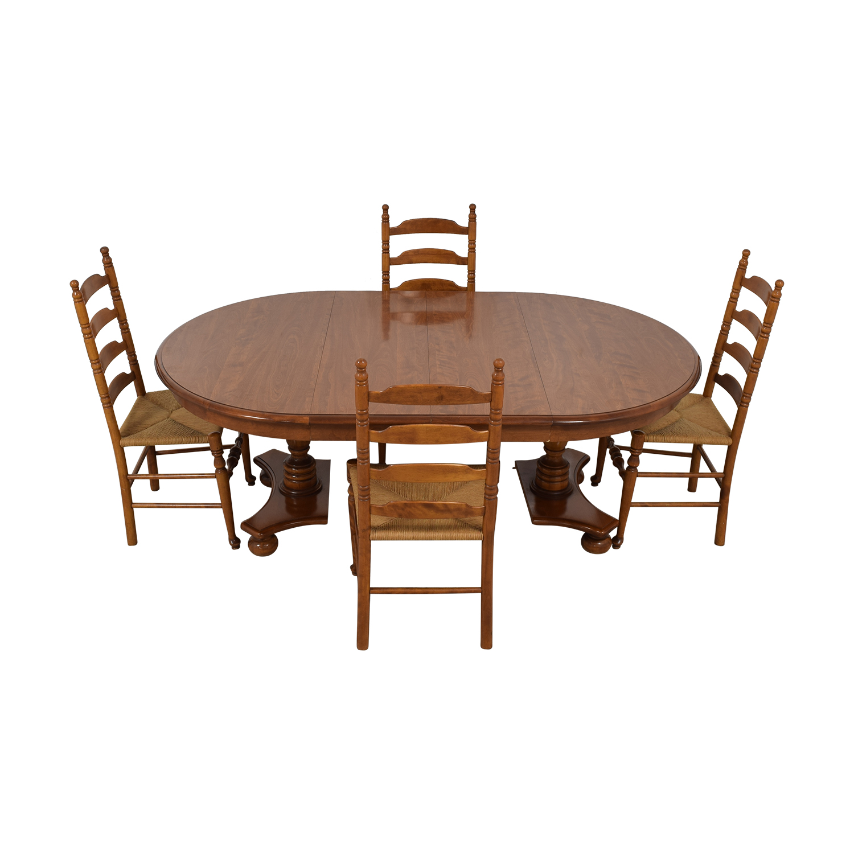 Ethan Allen Extendable Wood Pedestal Dining Set sale