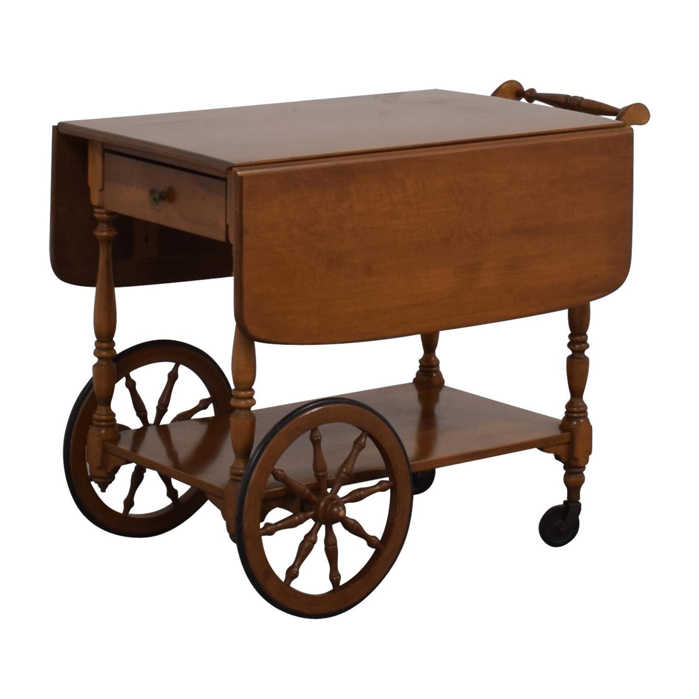 Ethan Allen Wood Folding Leaf Bar Cart Table on Castors / Tables