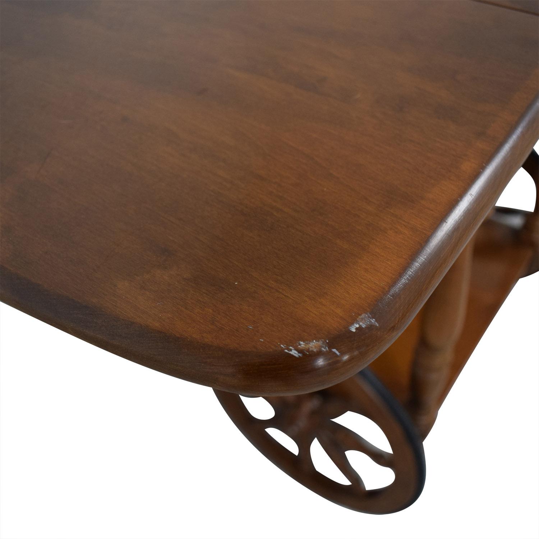 Ethan Allen Wood Folding Leaf Bar Cart Table on Castors / Utility Tables