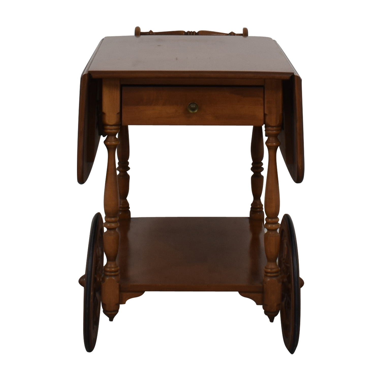 shop Ethan Allen Wood Folding Leaf Bar Cart Table on Castors Ethan Allen Tables