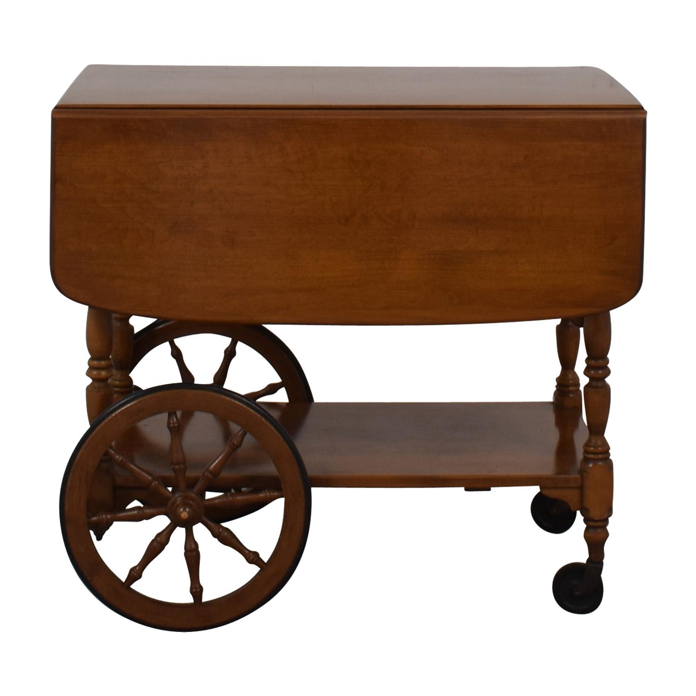 buy Ethan Allen Wood Folding Leaf Bar Cart Table on Castors Ethan Allen Utility Tables