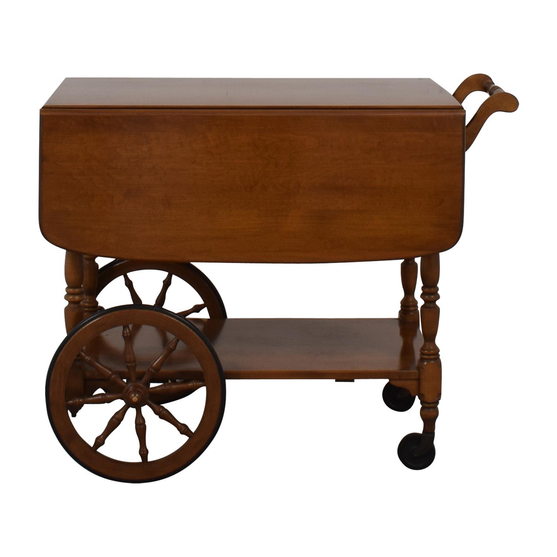 83 Off Ethan Allen Ethan Allen Wood Folding Leaf Bar Cart Table On Castors Tables