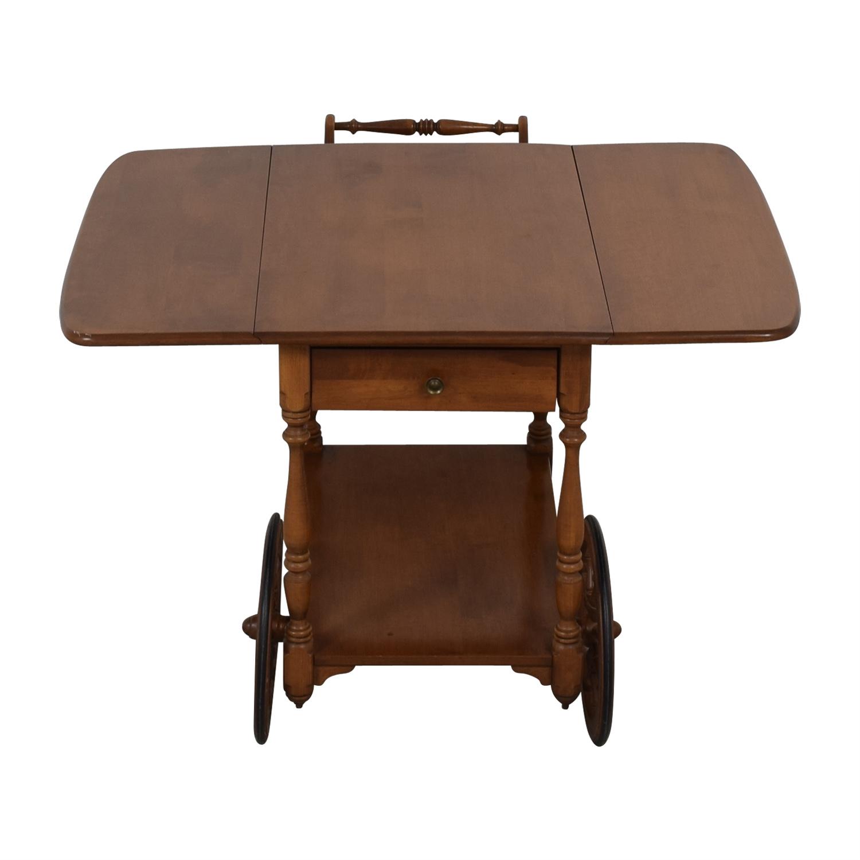 Ethan Allen Ethan Allen Wood Folding Leaf Bar Cart Table on Castors for sale