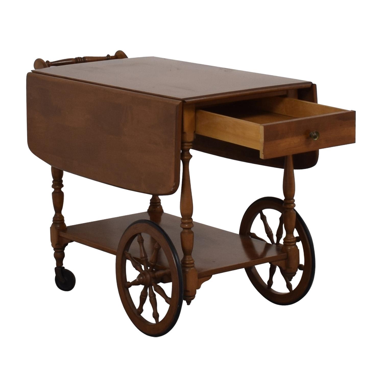 Ethan Allen Ethan Allen Wood Folding Leaf Bar Cart Table on Castors nyc
