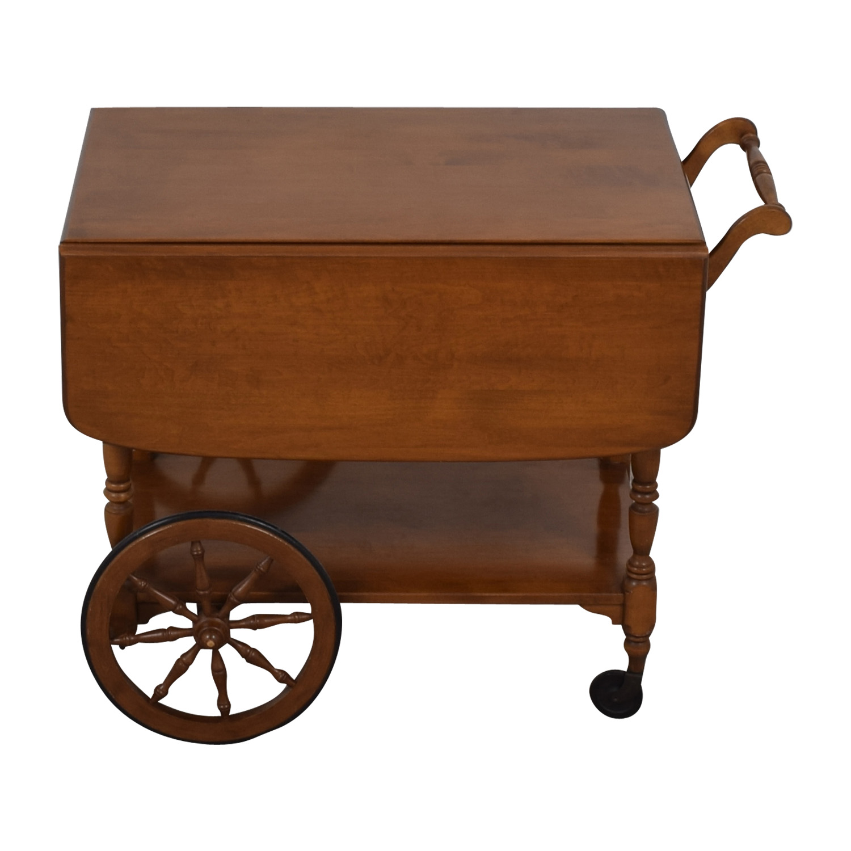 Ethan Allen Ethan Allen Wood Folding Leaf Bar Cart Table on Castors discount