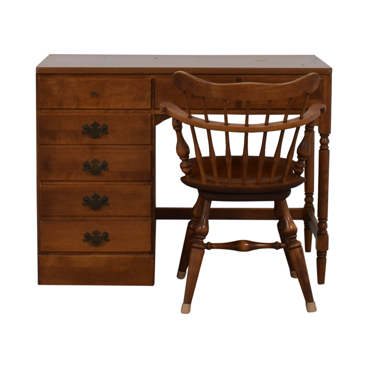 Ethan Allen Ethan Allen Seven-Drawer Desk and Chair on sale