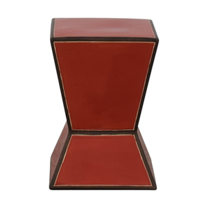 shop West Elm Ceramic Trapezoid Red Side Table West Elm
