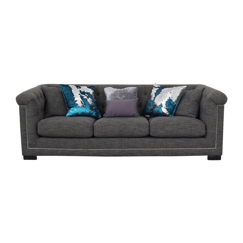 Grey Three-Cushion Sofa for sale