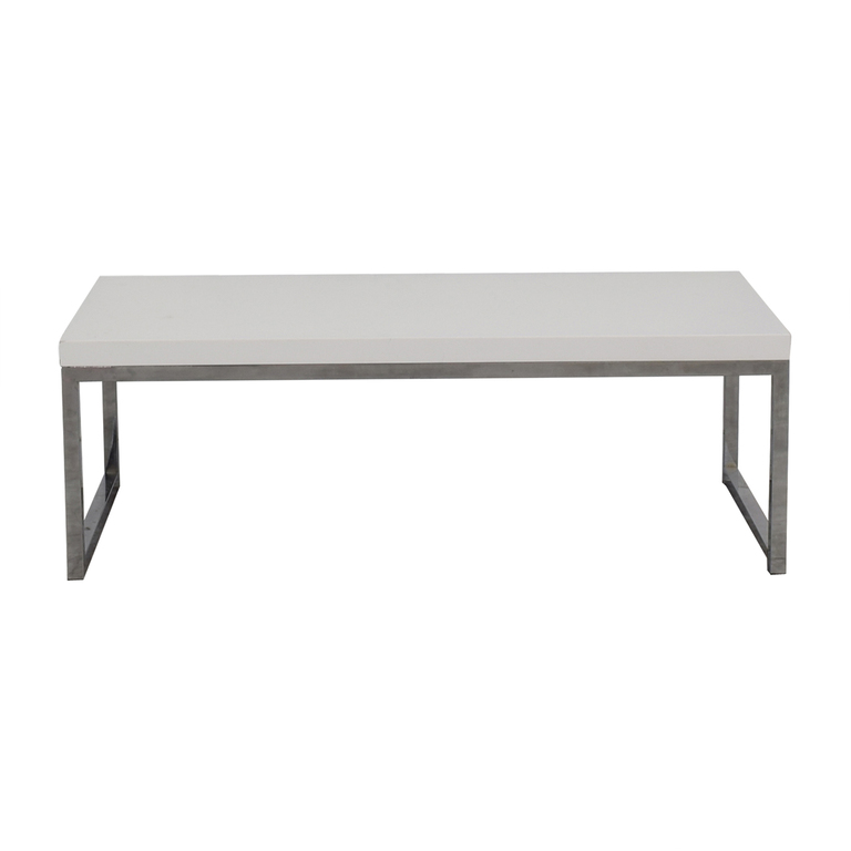 White and Chrome Coffee Table Tables