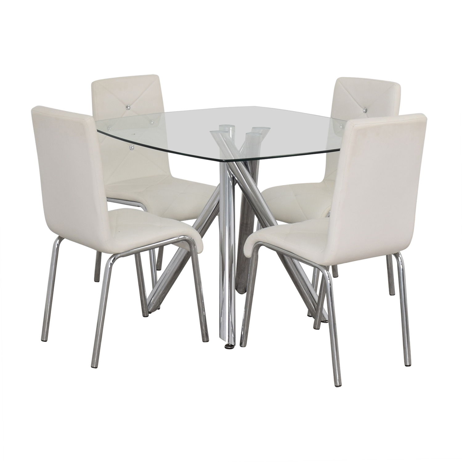 Glass and Chrome Dining Set with White Tufted Chairs price