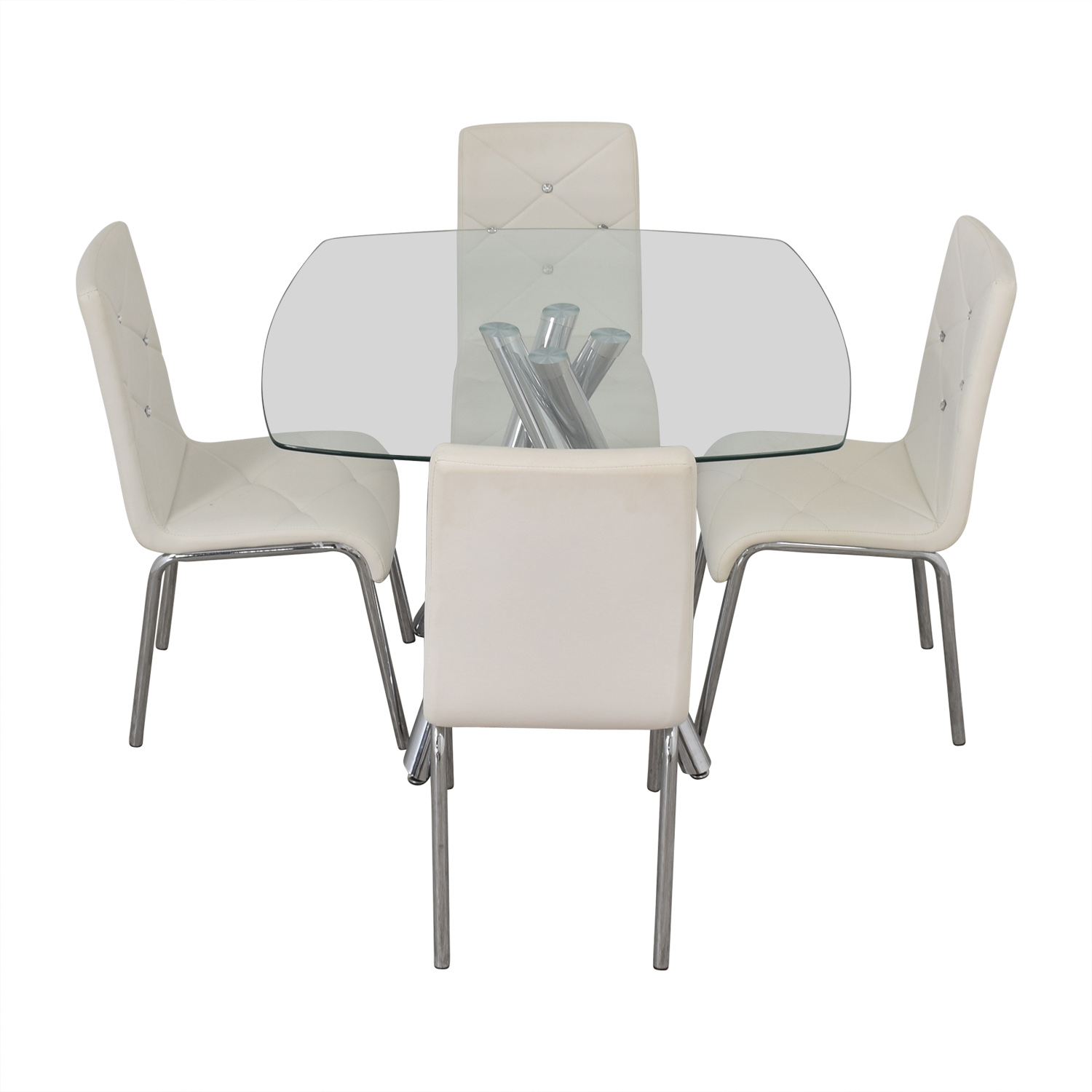 Glass and Chrome Dining Set with White Tufted Chairs