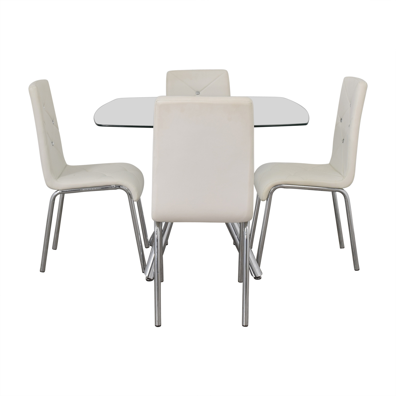 shop Glass and Chrome Dining Set with White Tufted Chairs  Tables