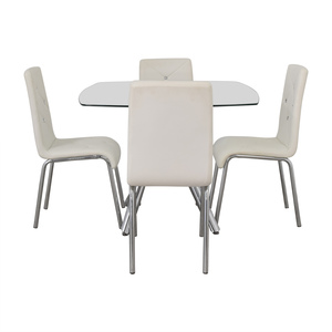 Glass and Chrome Dining Set with White Tufted Chairs nj