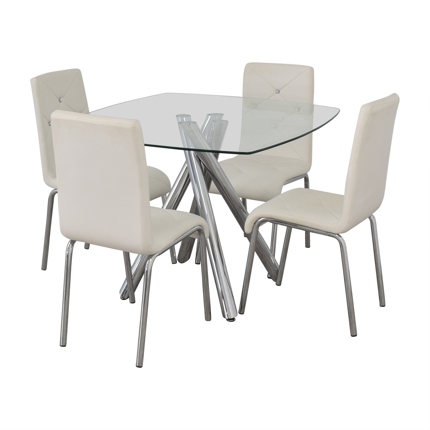 Glass and Chrome Dining Set with White Tufted Chairs WHITE
