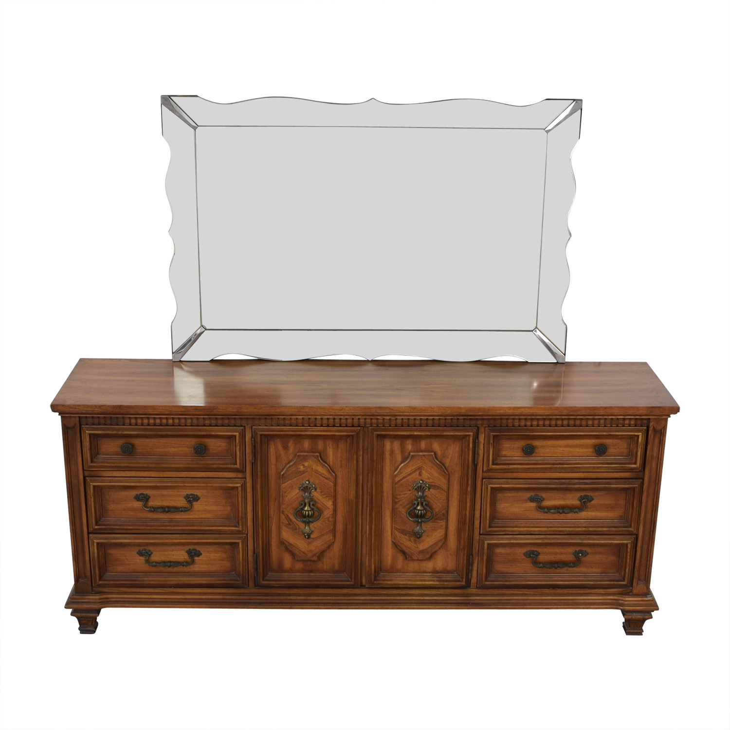 shop Albe Furniture Albe Furniture Nine-Drawer Dresser with Scalloped Mirror online