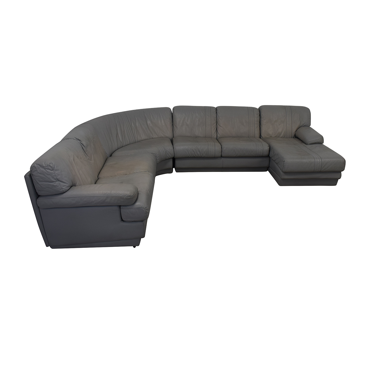 buy House of Grossman Grey L-Shaped Chaise Sectional House of Grossman