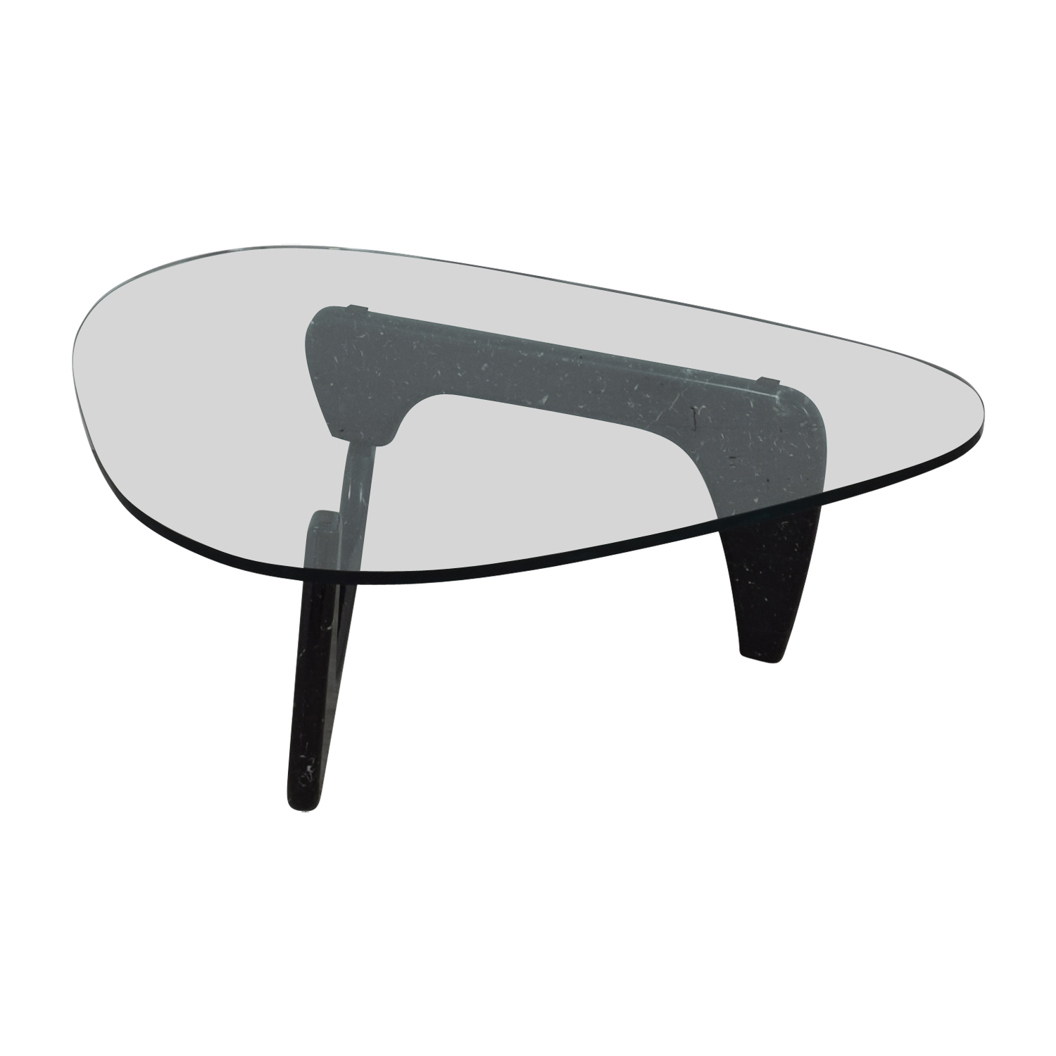 buy Maurice Villency Noguchi Style Glass with Black Marble Coffee Table Maurice Villency Tables