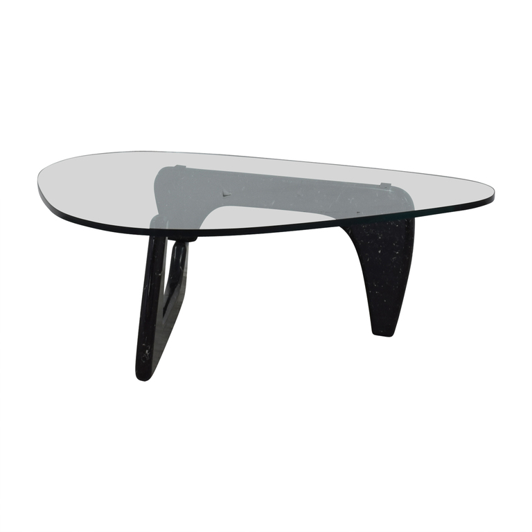 shop Maurice Villency Noguchi-Style Glass with Black Marble Coffee Table Maurice Villency Tables