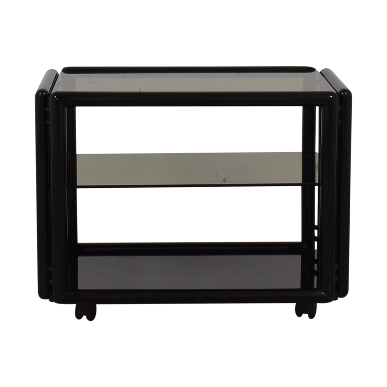 Black and Glass Tea Cart Tables