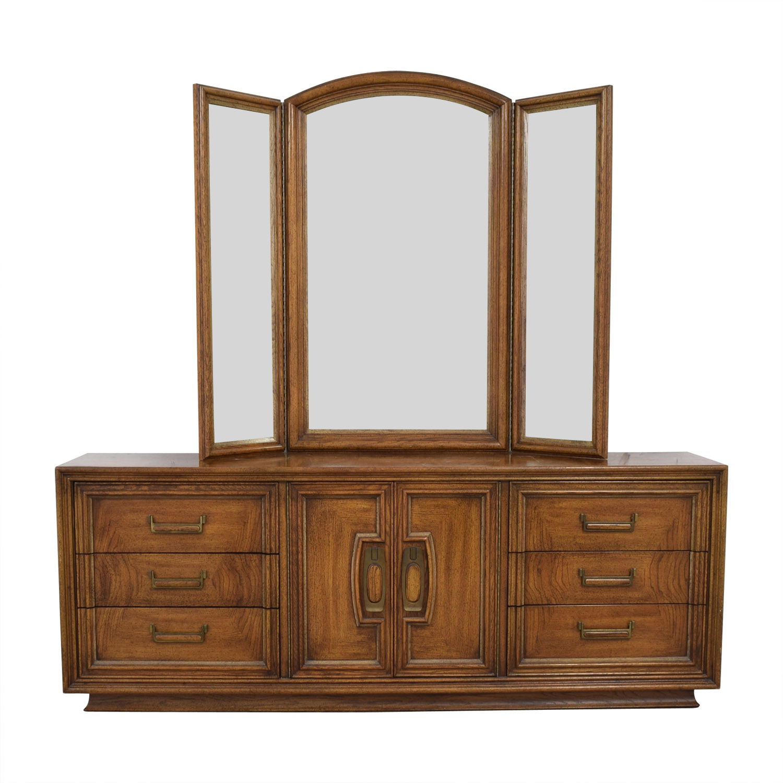 Vintage Dresser with Vanity Mirror Storage