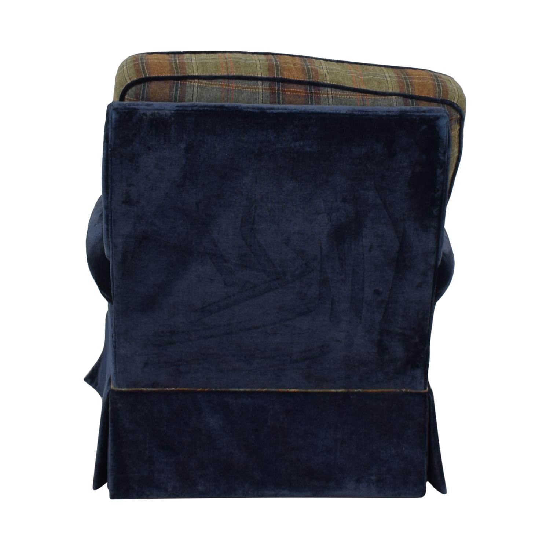 shop Custom Blue Plaid Swivel Accent Chair  Sofas