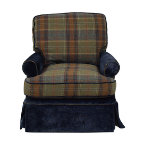 Custom Blue Plaid Swivel Accent Chair discount