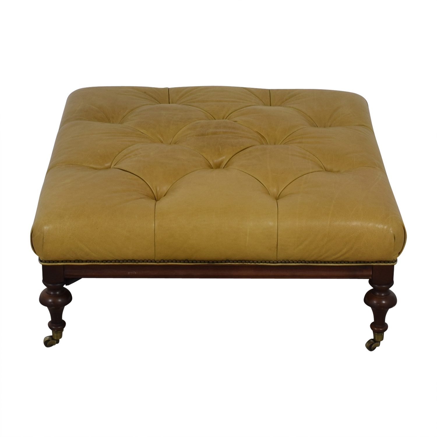 Beige Tufted Ottoman on Castors dimensions