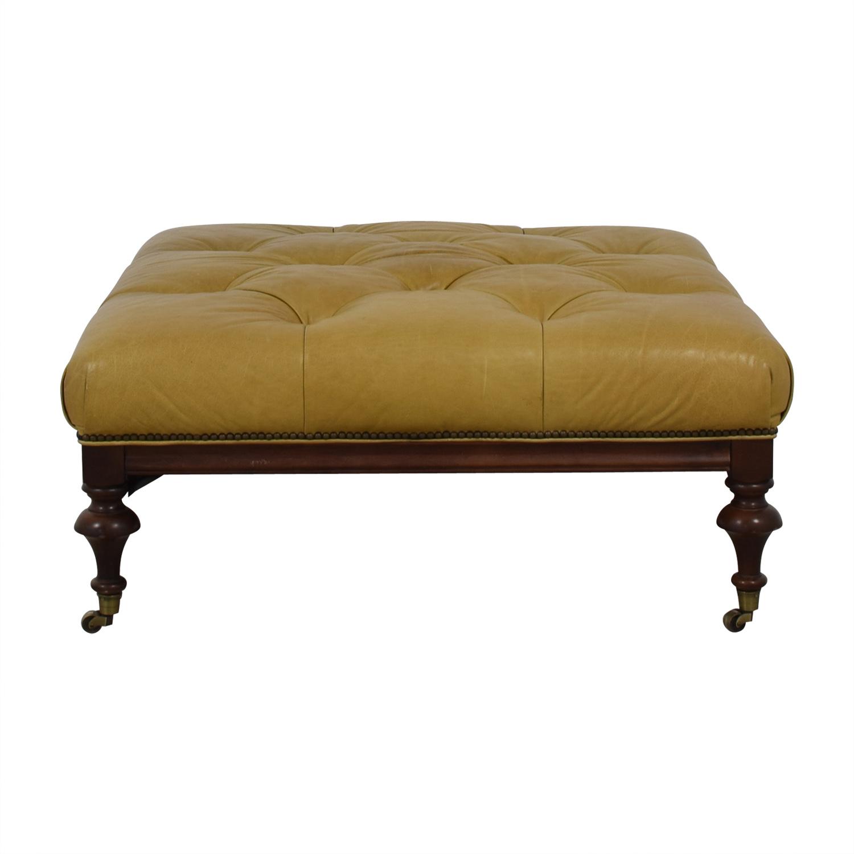 shop Beige Tufted Ottoman on Castors  Chairs