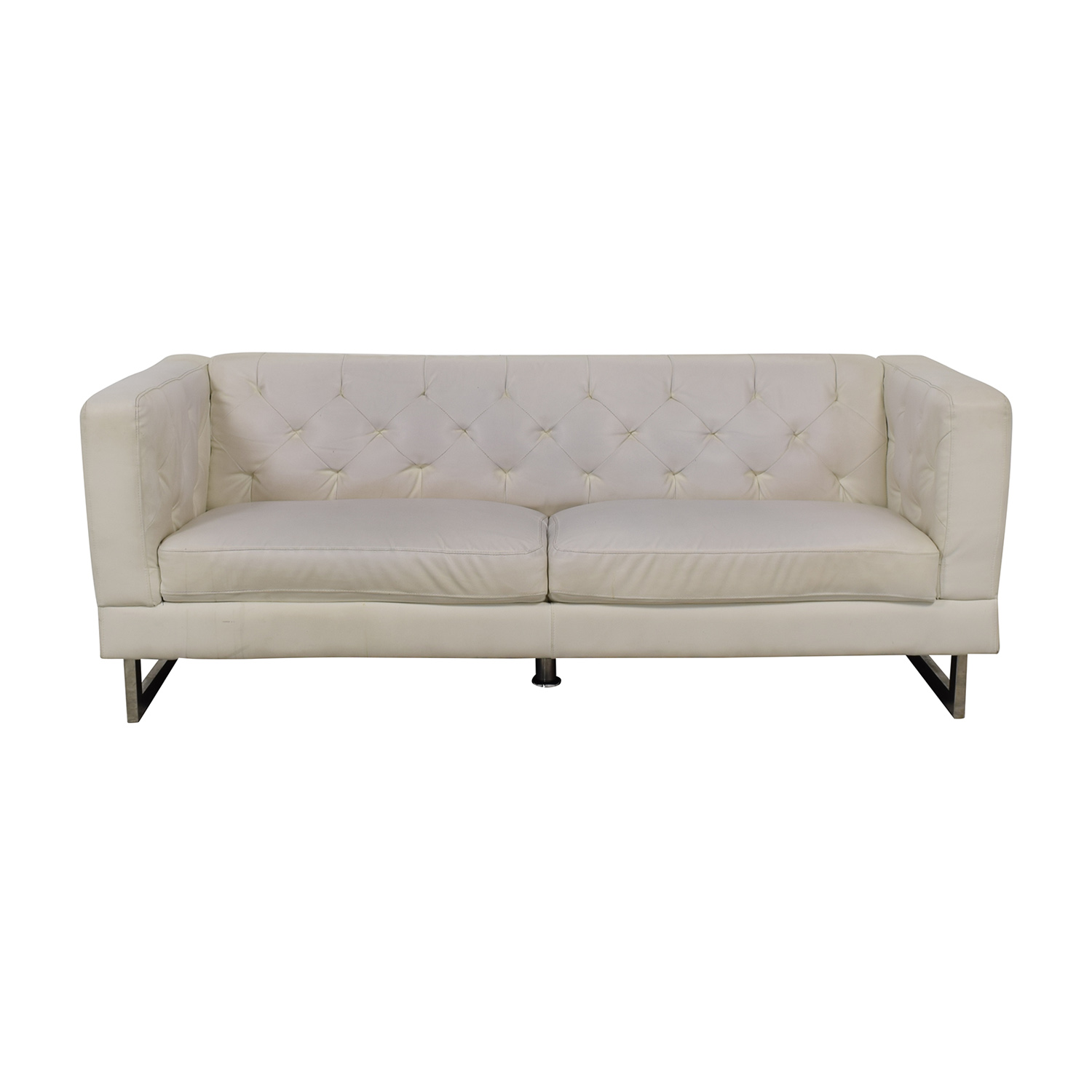 buy Pier 1 White Tufted Two-Cushion Couch Pier 1 Classic Sofas