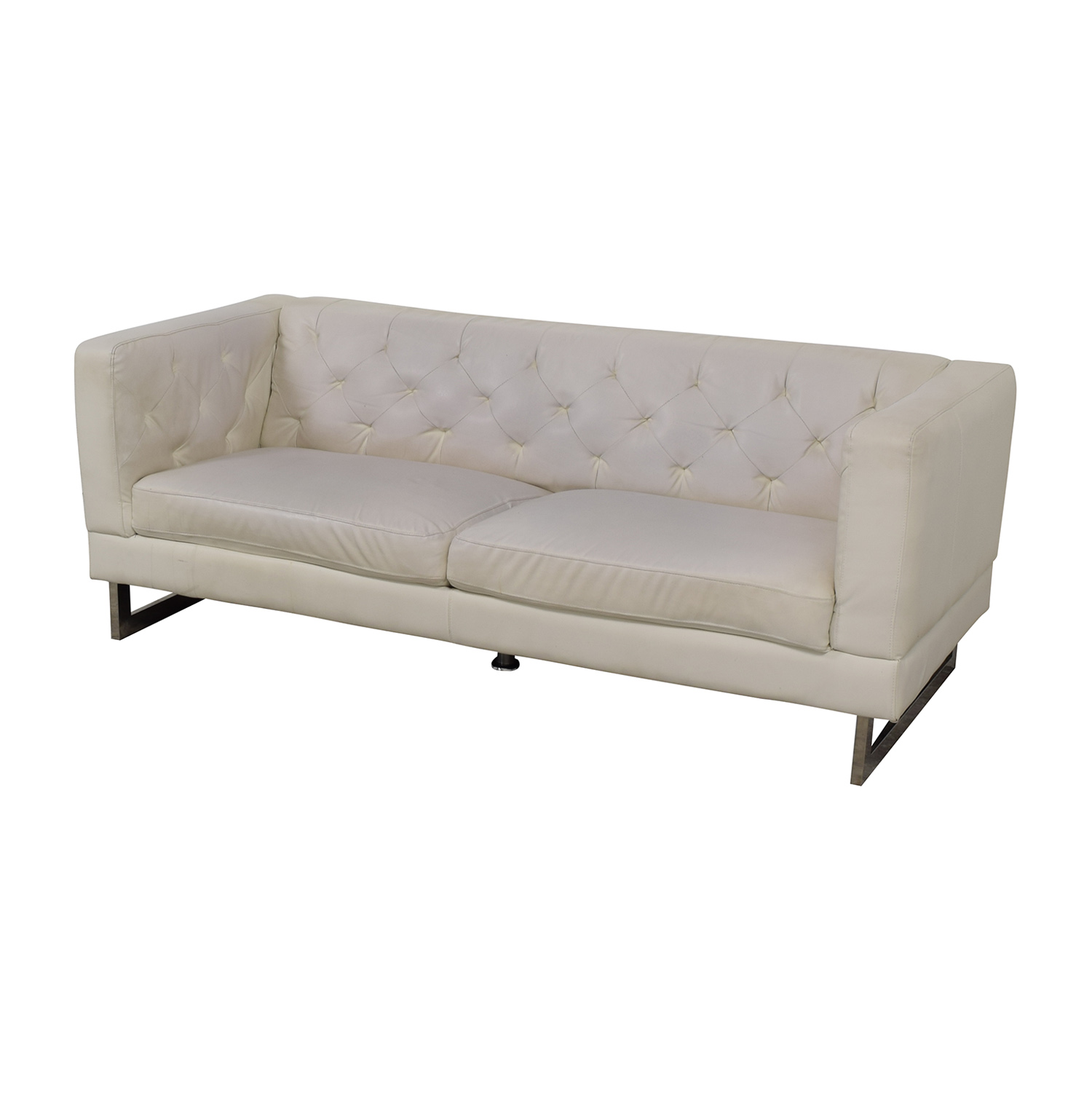 90 Off Pier 1 Pier 1 White Tufted Two Cushion Couch Sofas