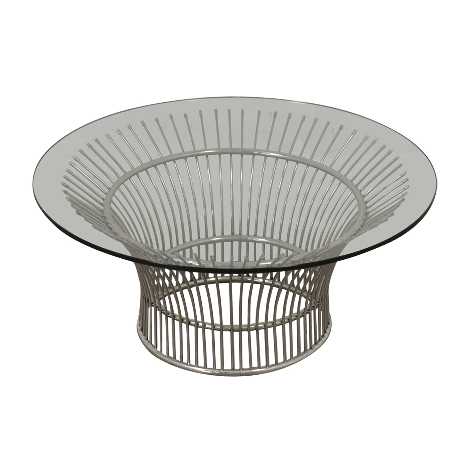 Platner Style Round Glass and Chrome Coffee Table