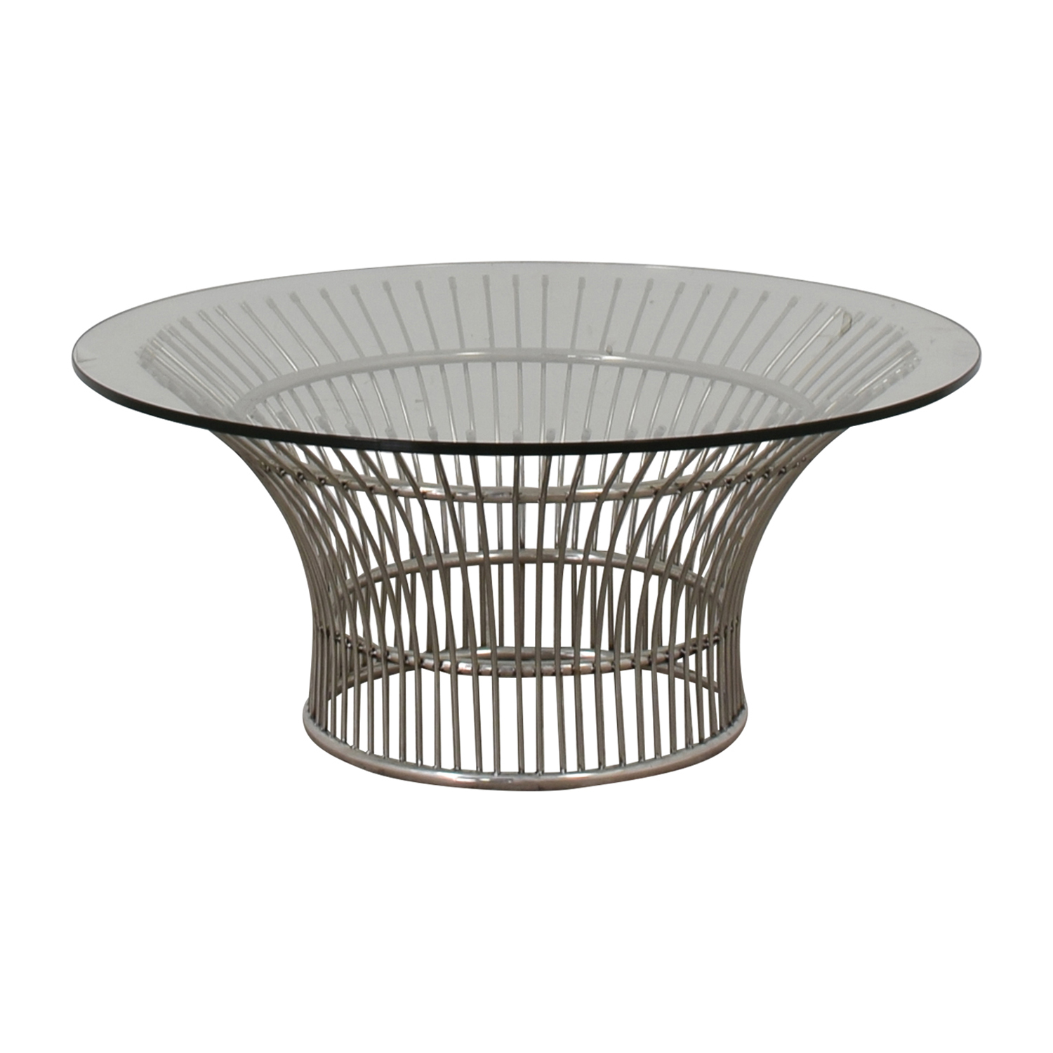 shop Platner Style Round Glass and Chrome Coffee Table  Sofas