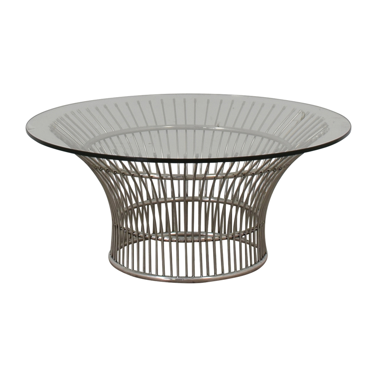 buy Platner Style Round Glass and Chrome Coffee Table  Tables