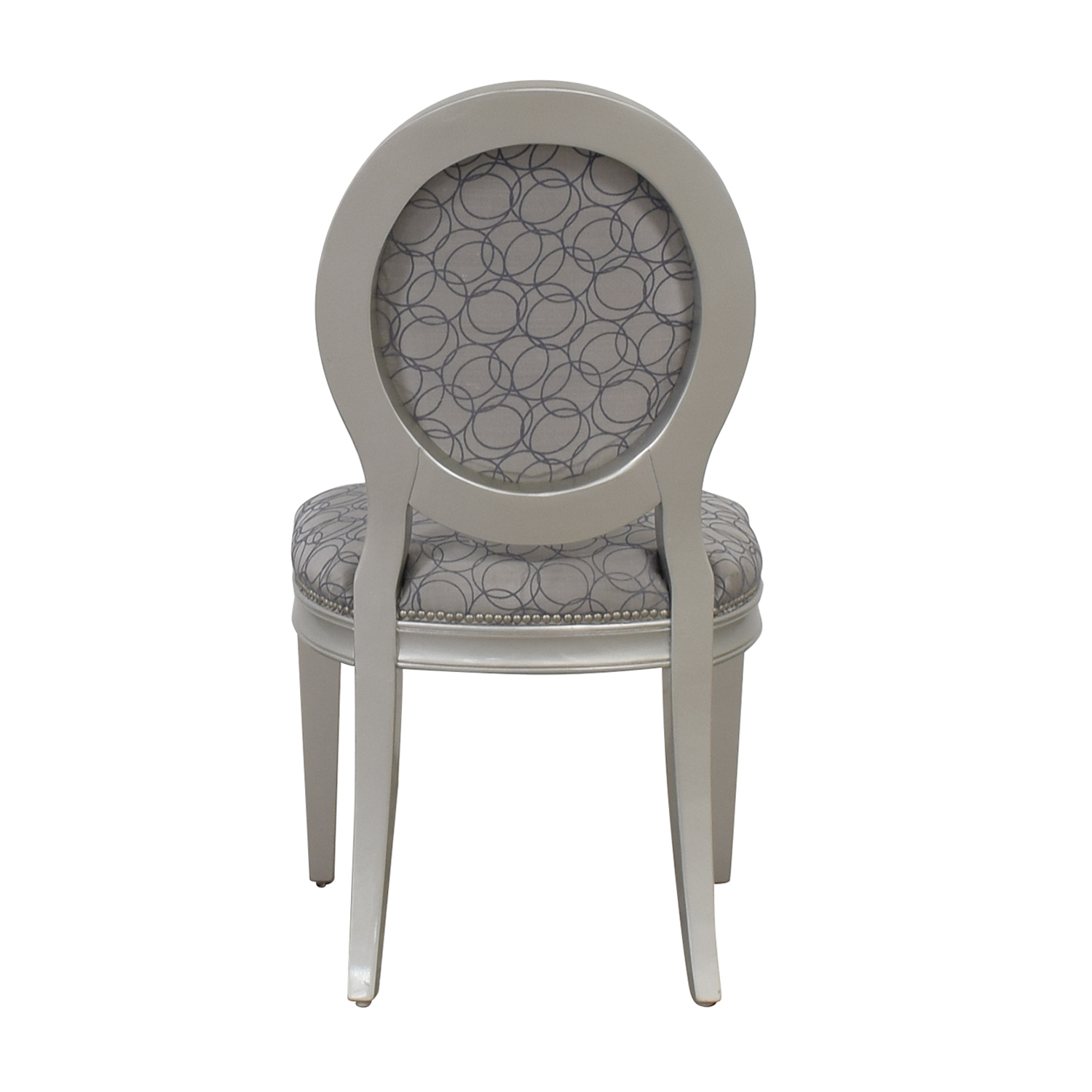 Hollywood Regency Style Grey Nailhead Accent Chair