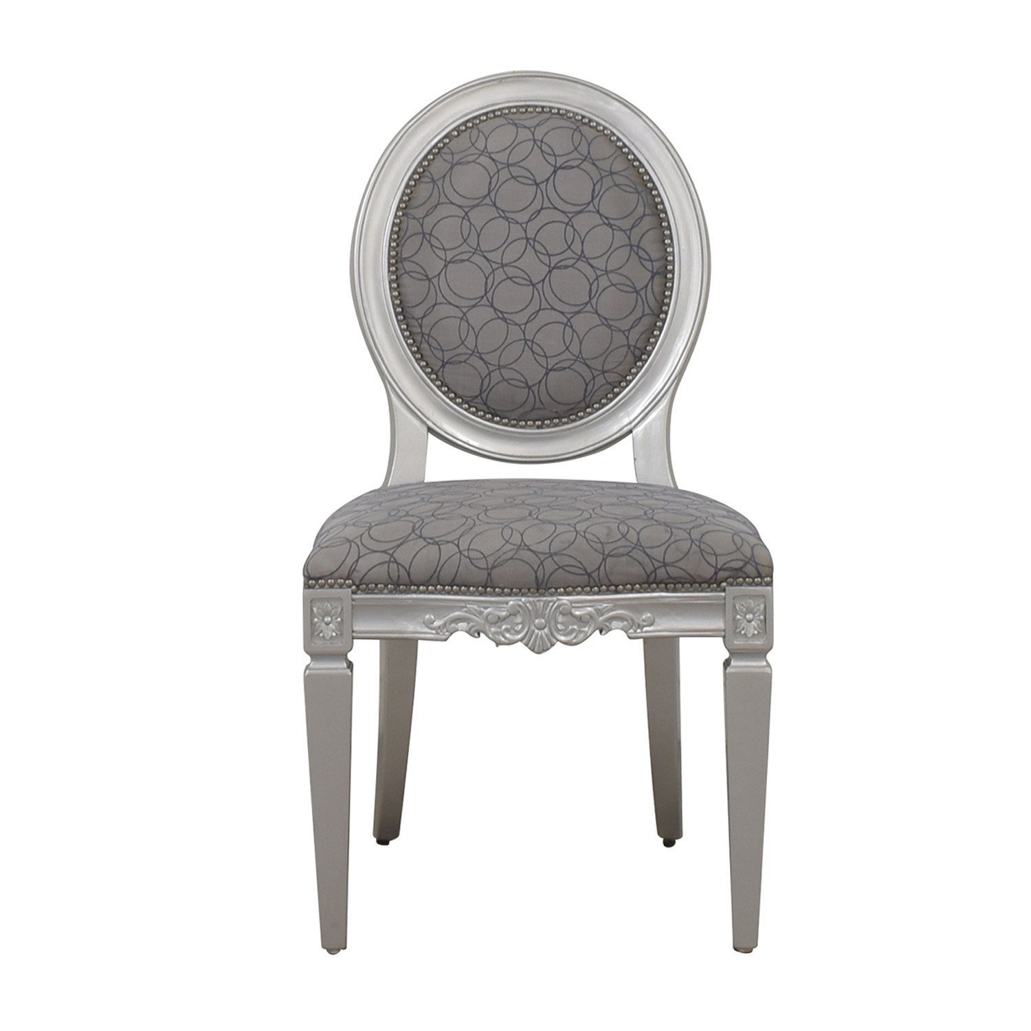 buy Hollywood Regency Style Grey Nailhead Accent Chair