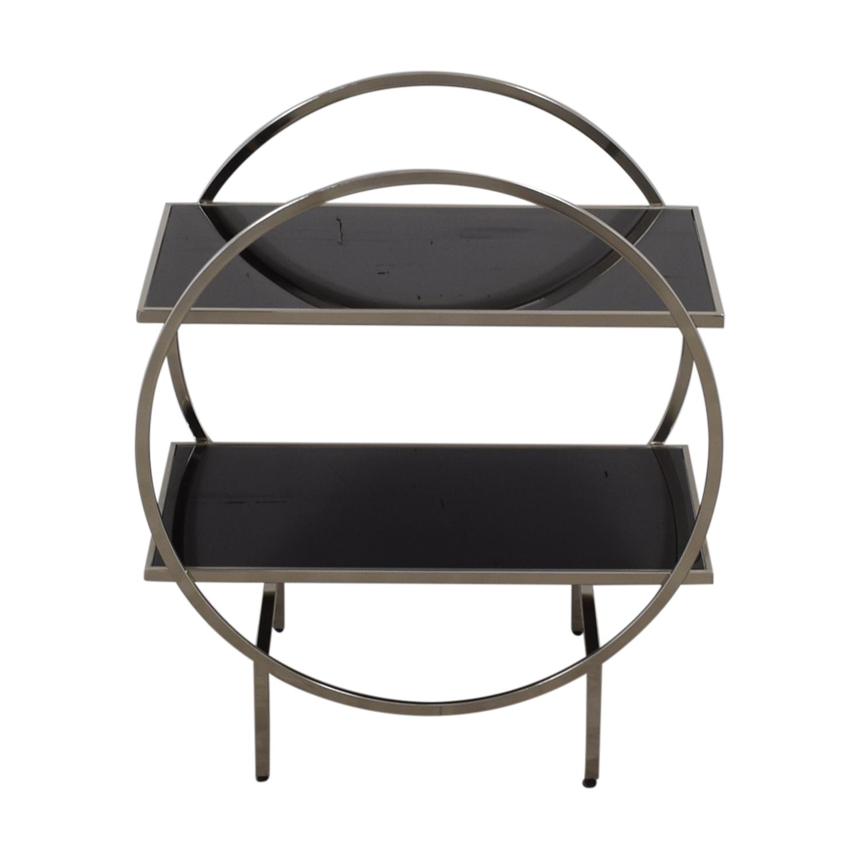 Black and Chrome Circular Bar Cart discount