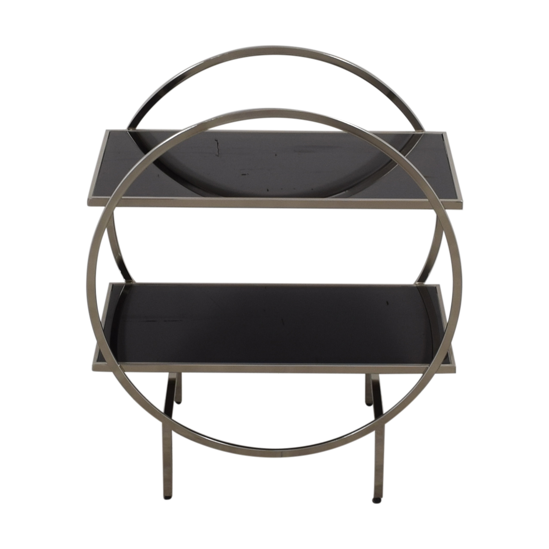 Black and Chrome Circular Bar Cart / Utility Tables