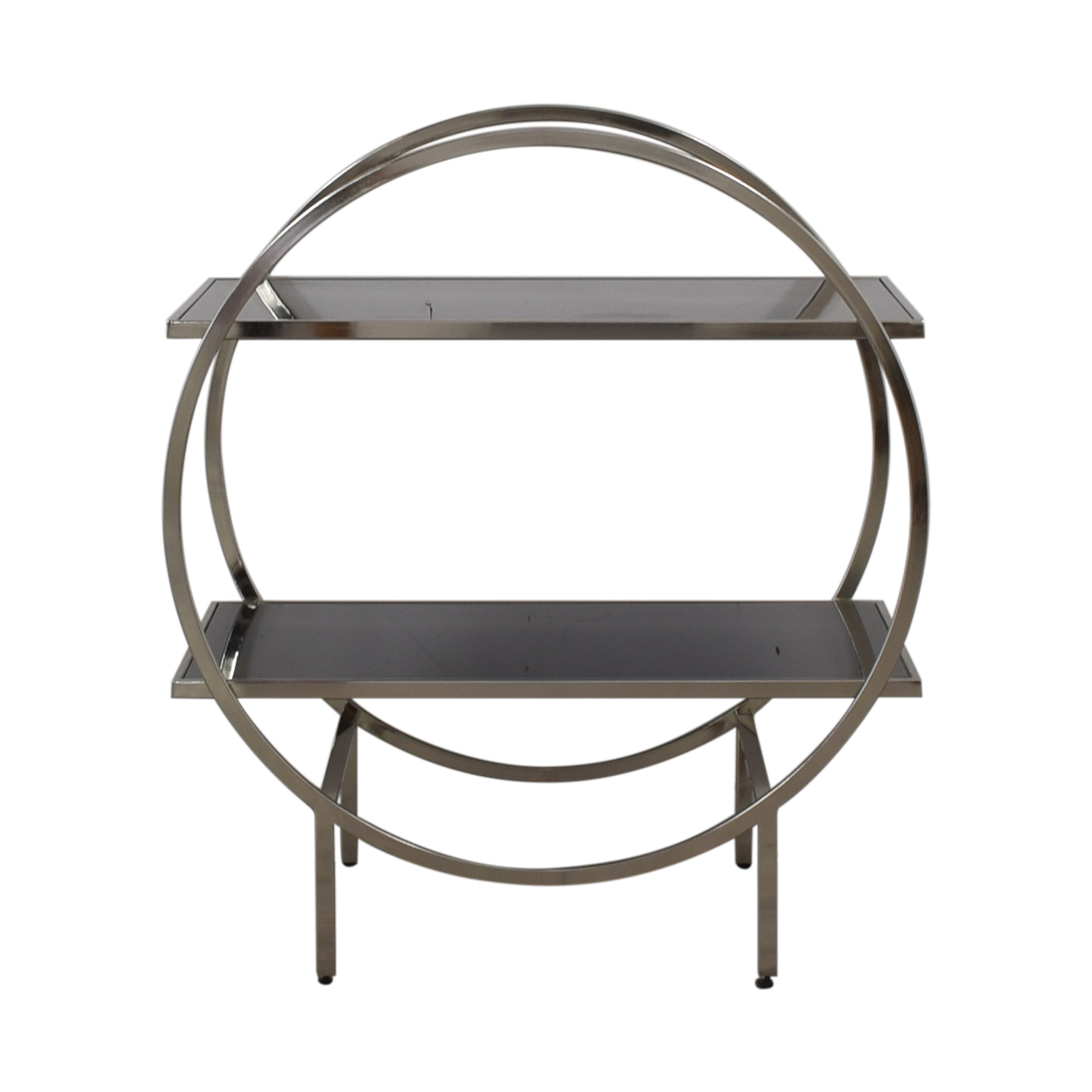 Black and Chrome Circular Bar Cart / Utility Tables