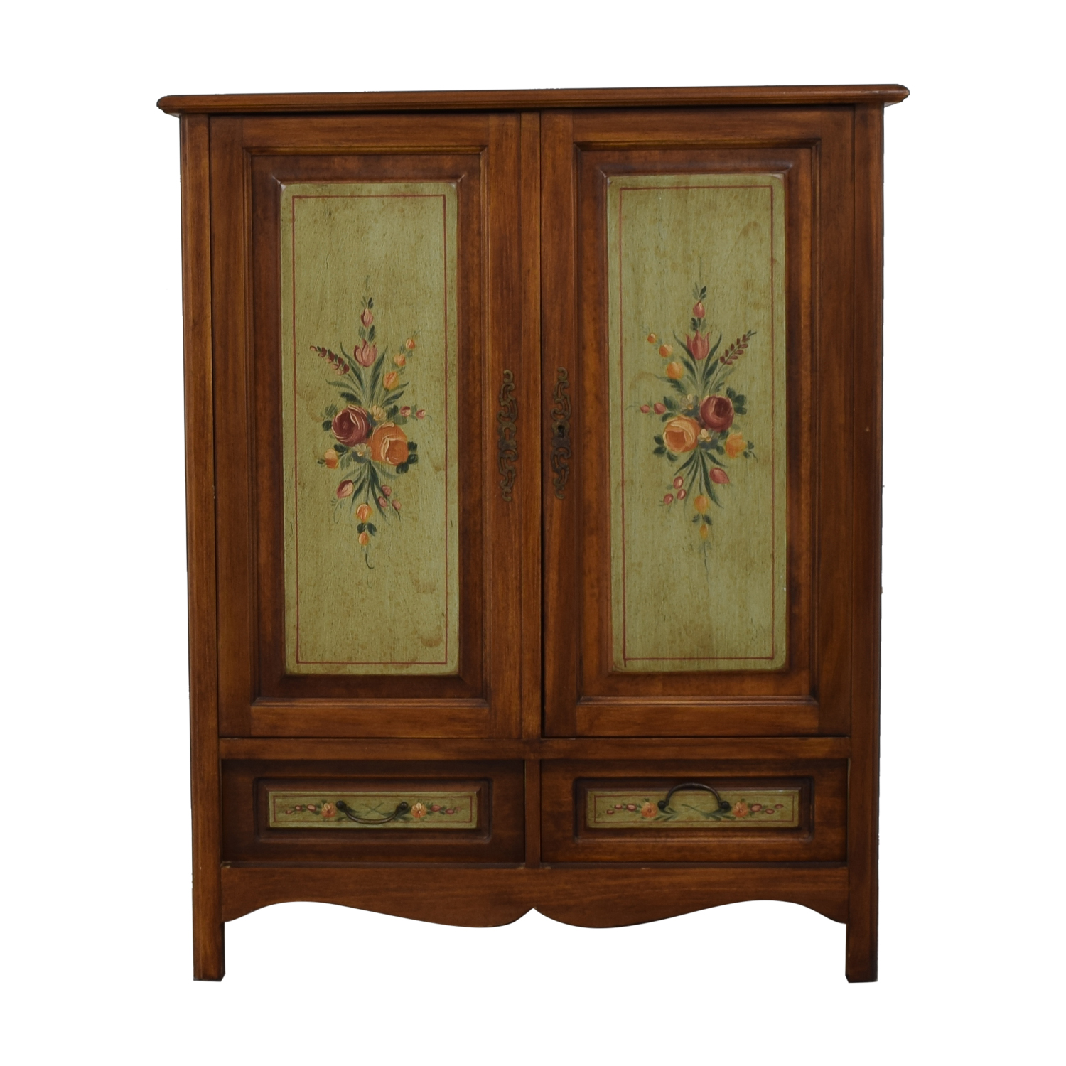 Domain Walnut French Antique Floral Painted Media Cabinet with Drawers / Storage